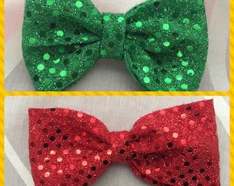 Fabric hair bow, holiday hair bow, Christmas hair bow, hair bow. Sequin hair bow. green sequin bow, red sequin bow