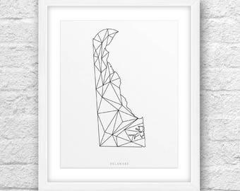 Delaware Map, Delaware Print, Delaware Art, Delaware Map Art, Delaware Printable, Instant Download, Delaware 8x10, Delaware Lines Art, Line