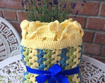 Baby blanket *yellow* elephants  baby shower gift newborn blanket, stripe blanket, neutral blanket, gender neutral, elephant blanket