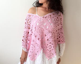 Cotton poncho, summer poncho, pink poncho, fringed poncho, boho poncho, granny square poncho, gift for her, fast shipping, ready to ship.