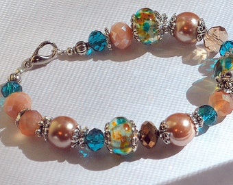 Taupe and Teal Lampwork Glass and Acrylic Beaded Bracelet