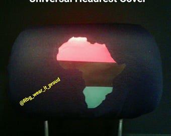 Universal Pan African RBG Headrest Covers Africa