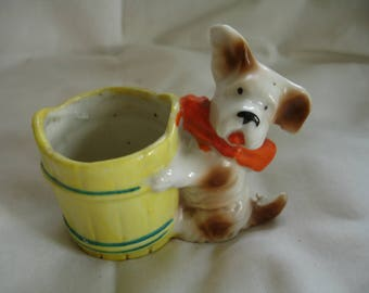 Vintage scottie dog planter, small planter scottie dog and yellow bucket, kitchy, shabby chic, cactus planter, Japan