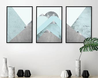 Set Of 3 Downloadable Scandinavian Mountain Printable Art Set Triptych In  Aqua Teal Turquoise Silver Wall