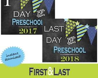 First & Last Day of School Sign * First Day School * Last Day School * Chalkboard Photo Prop * Back to School Printable * Preschool Boy
