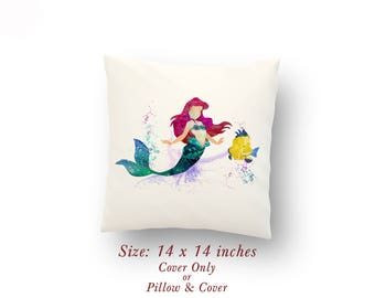 "Ariel and Flounder The Little Mermaid Nursery Decor Watercolor Pillow Cover or Cushion Size: 14"" x 14"""