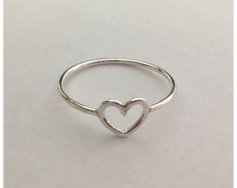 Heart Ring Solid .925 Sterling Silver Dainty Heart Midi Ring Love Symbol Ring Stackable Midi Knuckle Ring 18 gauge Gift For Her Teens ,Mom