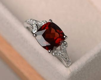 natural garnet ring, cushion cut promise wedding ring, sterling silver ring,red gemstone ring,January birthstone ring