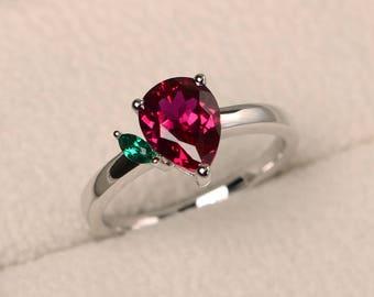 Ruby ring, anniversary ring, July birthstone ring, pear cut gemstone, red gemstone, sterling silver ring