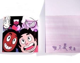 Memo Pad - Steven Universe - Crystal Gems - Garnet - Amethyst - Pearl - Connie Maheswaran