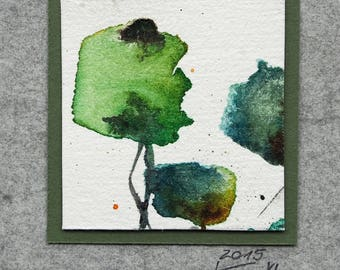 Miniature (40), watercolor, abstract art, small gift, square, original, abstract trees, wall decoration, ink drawing, small thank you, green