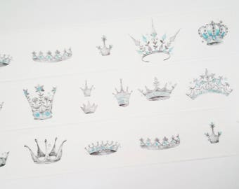 Design Washi tape crowns Blau-Silber snow masking tape