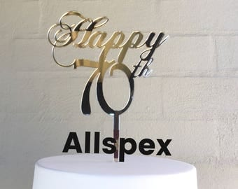 70th Birthday Cake Topper reads: Happy 70th