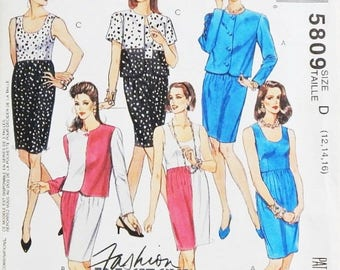 Women's Jacket and Dress Pattern - Misses' Sizes 12, 14, 16 - McCall's 5809 Easy Pattern - Cut To Fit Pattern