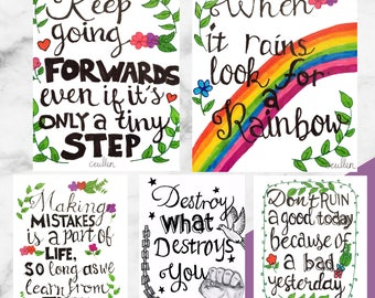 Illustration & Handwritten Calligraphy -  Pack of 5 A5 Positive Postcards
