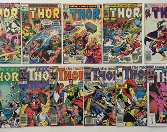 The Mighty Thor Lot of 11 Marvel Comic Books 1977 to 1987 VG/FN 5.0 to VF+ 8.5
