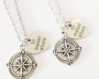 set 2 no matter where necklace  - compass necklace - friendship necklace - girlfriend - birthday gift
