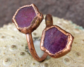 Rough ruby ring | Ruby copper ring | Raw ruby electroformed ring