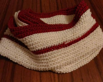 Mixed cream and Burgundy scarf