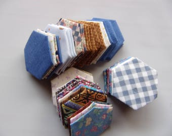 """EPP pre-made pieces 1.5"""", set of 100 hexagons, hexies made from scrap fabric, finished English paper hexagons, EPP hexagon sewing supply"""