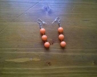 handmade pierced earrings orange resin beads