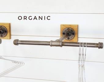 Industrial pipe clothing hook T⋆ Organic Industrial hanger ⋆ industrial hook ⋆ faceout rack ⋆ closet hook ⋆ retail display ⋆ pipe hook⋆