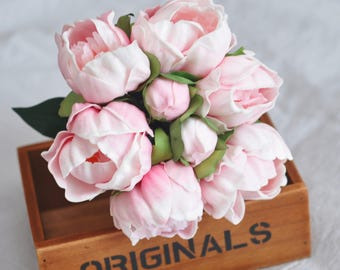 6pcs Blush Pink Real Touch Pink Peonies For Bridal Bouquets, Bridesmaids bouquets, Blush pink peonies,not silk peony