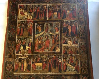 "Antique Russian Orthodox Icon ""The Twelve Principal Feast""  Painting on Wood 19th century"
