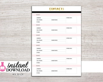 A5 Planner Printable - Contacts - Address Book - Filofax A5 - Kikki K Large - Design: Goldie