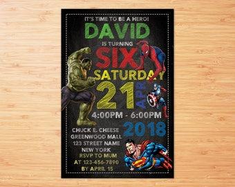 Superhero Invitation, Superhero Avenger Birthday Invitation, Avenger Invitation, Boy Invitation, Birthday Invitation , Invitation