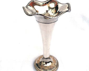 "Silver Plated Posy Vase Grenadier England Circa 1960, Bud Vase, Flared Rim, 6.25"" x 3.5"", Good Condition, Small Vase, Marked on Rim and Base"