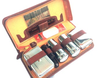 Mid Century Grooming Kit, Brown Leather Men's Travel Kit, Chrome and Bakelite Containers, New Comb, Original Soap Stick, Excellent Condition