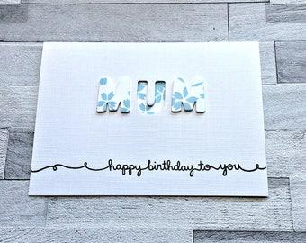 Mum Birthday Card, Mom Birthday, Card for Mum, Blank Mum Card, Mum Greetings Card, Cute Card For Mom, Modern Mom Card, Blank Mom, Modern Mum