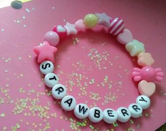 Kawaii Pastel Bracelet - Kandi Jewelry - Strawberry Kawaii - Fairy Kei - Pastel Goth - Candy Kawaii - Lolita