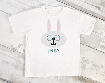 Easter Bunny/Personalized Easter Shirt/Gray Bunny/Toddler Shirt/Easter Basket/Bunny ears/Easter Outfit/Egg Hunt/Easter Gift/Easter Clothes