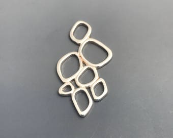 Sterling Silver Geometric Pebble Pendant Charm Connector