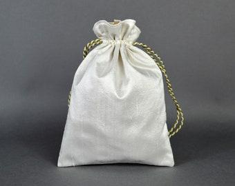 Ivory and Gold Silk Drawstring Bag, Ivory Drawstring Pouch, Ivory silk bag, Tarot Bag, Wedding Bag, Flower Girl bag,