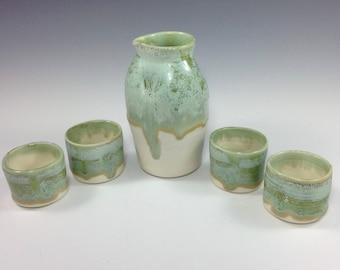SeaFoam Handmade Saki Set, Modern Sake Set, Sake Bottle and 4 Cups, Saki Carafe,Shot Glasses, Small Vase,Functional and Decorative Pottery