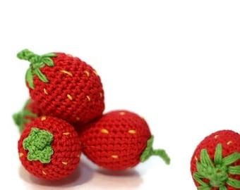 ON SALE Crochet Strawberries (2pcs+) Pretend food Play Food Play Kitchen food Kids Toy Crochet Educational toy Kitchen decor Stuffed Montess