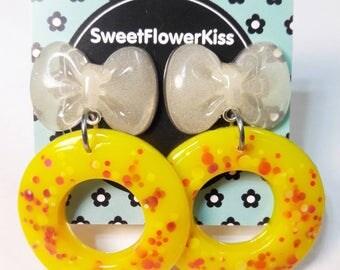 Hoops/Bow/Gift for her/Girly/Stud Earrings/Resin earrings/Resin/Resin jewelry/Handmade/Cute/Valentine's day/white bow