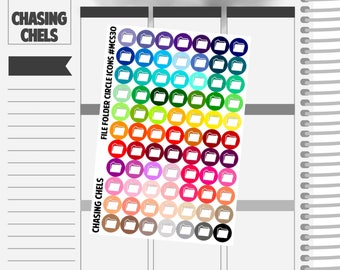 File Folder Icons #MCS30 Premium Matte Planner Stickers