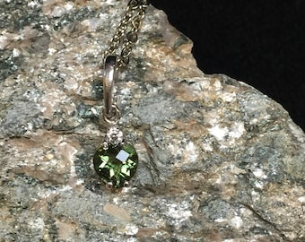 Little Sweetheart - Miranda Heart-Shape Faceted Moldavite and Silver Pendant With a Crystal Flourish! (6mm)