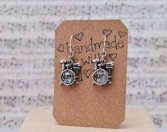 Drummer Kit Earrings With Silver Plated Hooks, Drum Earrings, Musical Jewelry, Drumming, Musician Gift for Drummer.