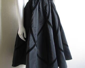 """vintage 1950s black circle skirt with black velvet pattern- McArthur Ltd 28"""" waist"""