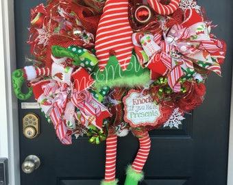 Christmas wreath, Elf Wreath, Elf Christmas wreath, Whimsical Christmas Wreath, Deco Mesh Christmas Wreath