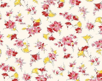 1/2 yd Lily Main Cream Floral by Sue Penn for Riley Blake/Penny Rose C5930-CREAM