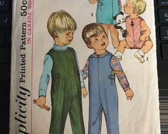 Vintage 50s Simplicity 6157 Toddler Boys Romper Pattern-Size 2 (21-20)