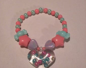 Blue and Pink Heart Pastel Beaded Bracelet Kawaii Kandi Single Fairy Kei Bracelet