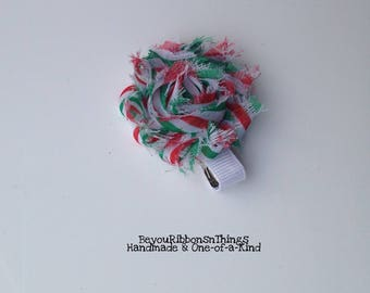 Mini Shabby Flower | Candy Cane | Hair Clips for Girls | Toddler Barrette | Kids Hair Accessories | Grosgrain Ribbon | No Slip Grip