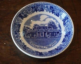 Vintage Monticello Pin Dish/JonRoth Staffordshire Transfer Ware/ Blue and White Transferware/ Souvenir